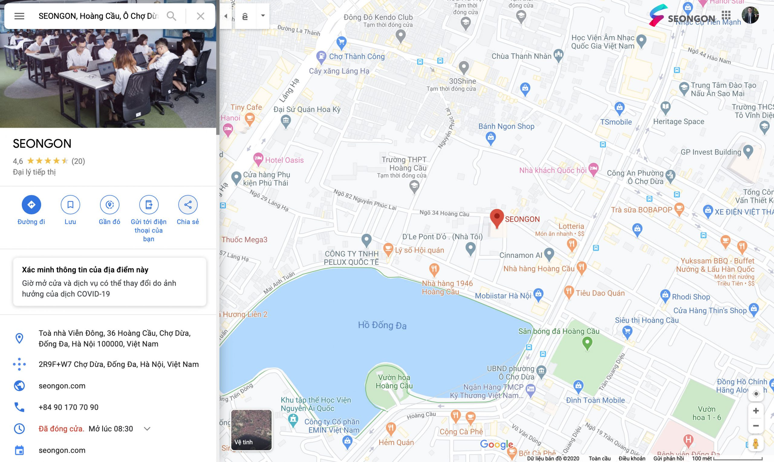 Thông tin doanh nghiệp hiển thị trên Google Maps