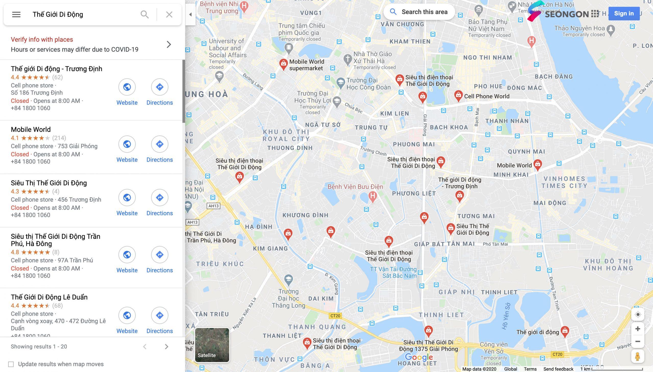 Xác minh Google Maps hàng loạt