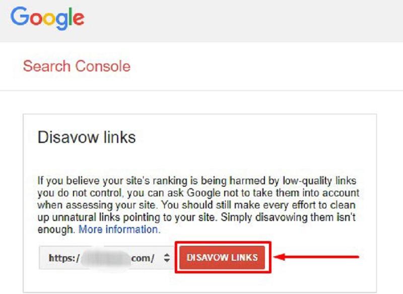 Nhấn chọn Disavow links