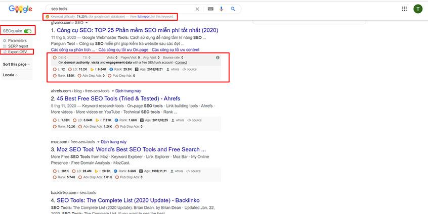 Chỉ số SERP (Search Engine Results Page) của các trang trong kết quả tìm kiếm Google khi bật SEOquake