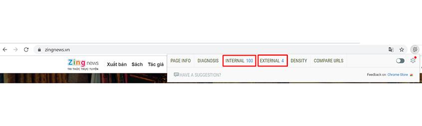 Chỉ số internal link và external link trong SEOquake