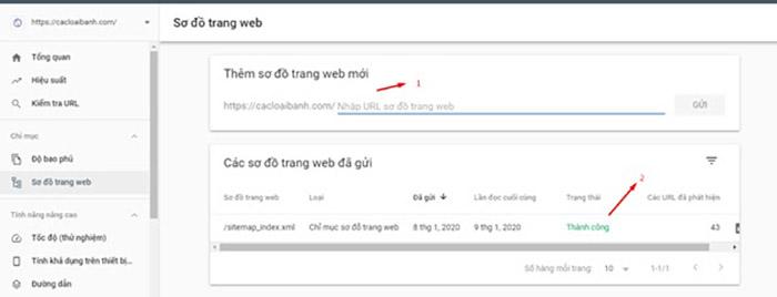 Sơ đồ trang web trong Google Search Console