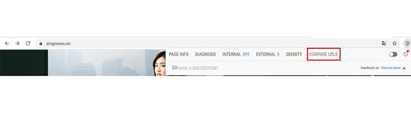 Chọn Compare URLs để so sánh URL