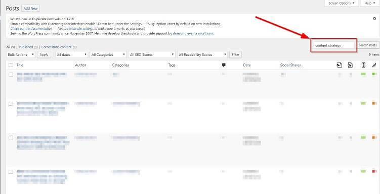 """Gõ """"content strategy"""" vào thanh tìm kiếm sẽ lọc ra tất cả các post chứa từ khóa này"""
