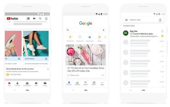 Các phiên bản quảng cáo ở các trang khác nhau như Google, Youtube, v.v.