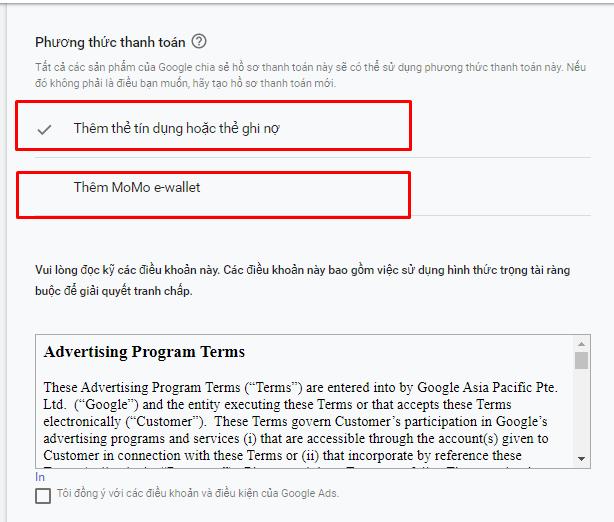 Add thẻ visa chạy quảng cáo Google Ads