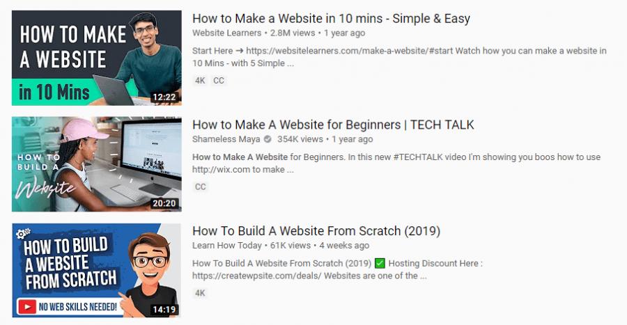 Các video đứng top đầu đều là video hướng dẫn
