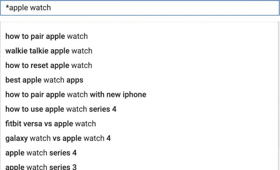 Gợi ý của Youtube khi bạn nhập * trước từ khoá