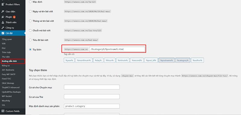 Cài đặt cấu trúc URL trong website wordpress