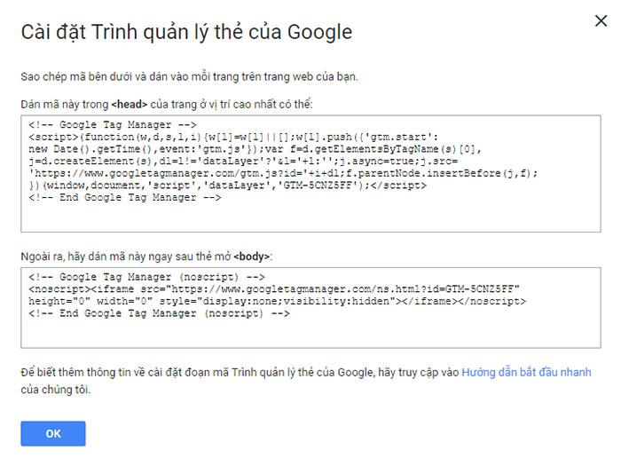 2 đoạn mã Google Tag Manager