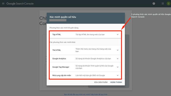 5 phương thức xác minh quyền sở hữu Google search console