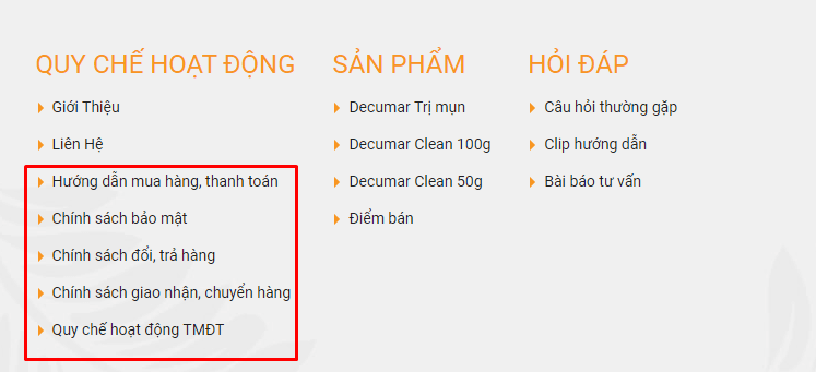 Trang thông tin dịch vụ khách hàng