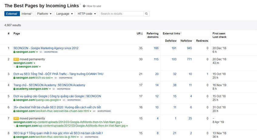 Bảng thống kê trang nhận được nhiều Backlink nhất