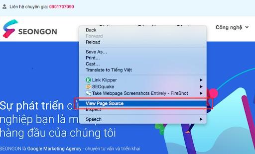 Xem thiết lập thẻ Canonical qua cách xem nguồn trang
