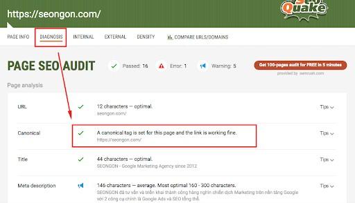 Kiểm tra thẻ Canonical bằng SEO Quake