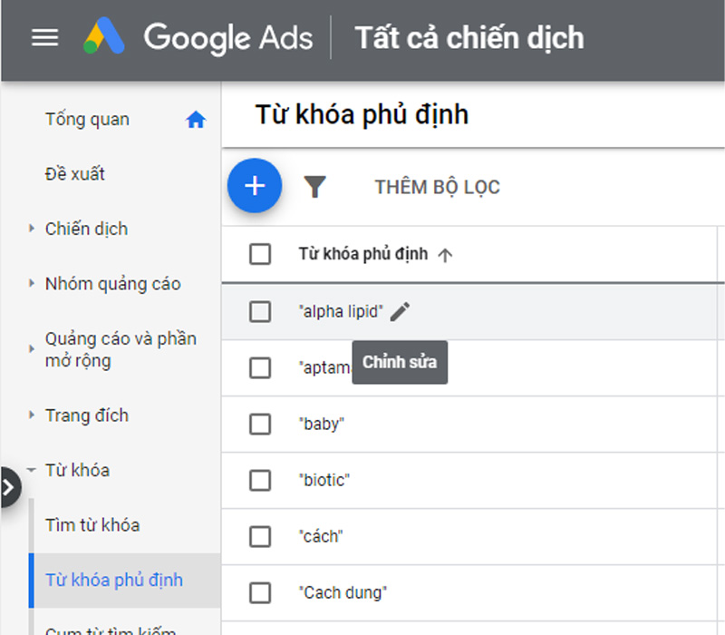 Chỉnh sửa từ khóa phủ định trong google adwords