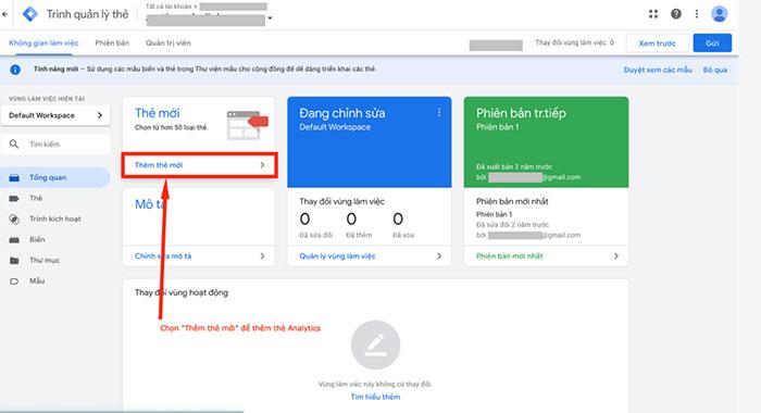 """Chọn phần """"Thêm thẻ mới"""" tại giao diện Google Tag Manager"""
