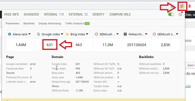 kiểm tra index bằng seoquake