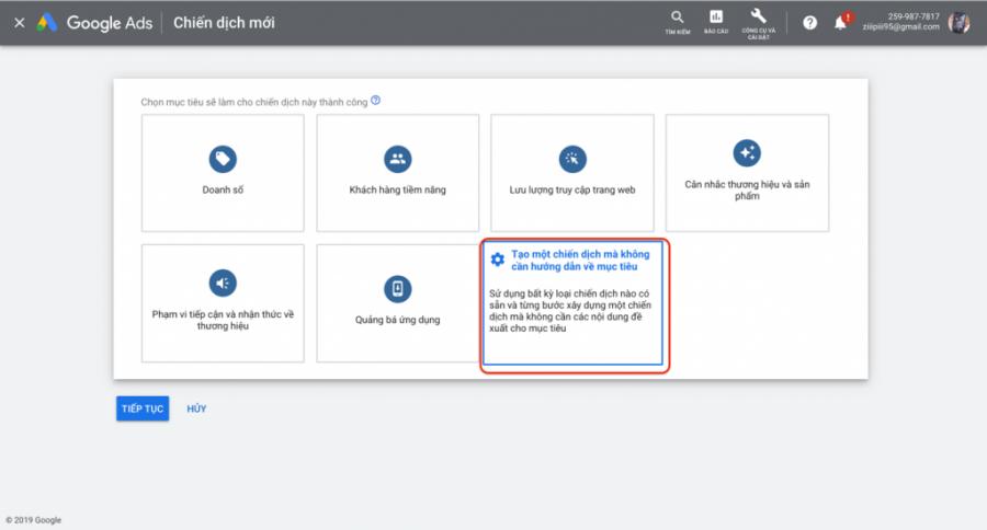 chọn mục tiêu cho chiến dịch quảng cáo gmail