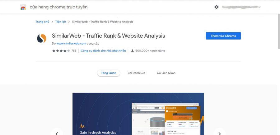 Cài đặt add on Similarweb