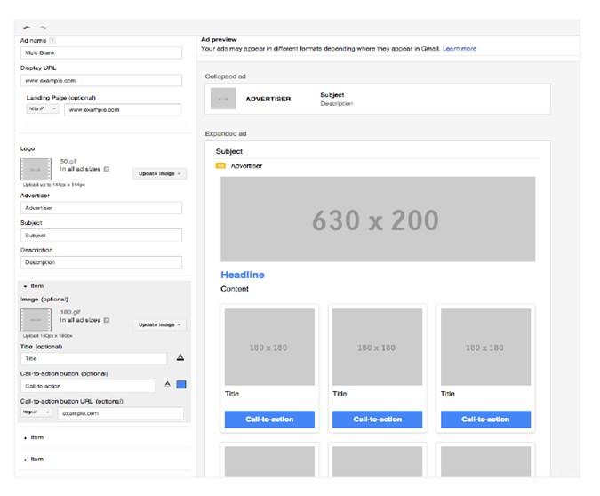 thiết lập thông số kĩ thuật cho quảng cáo gmail mở rộng