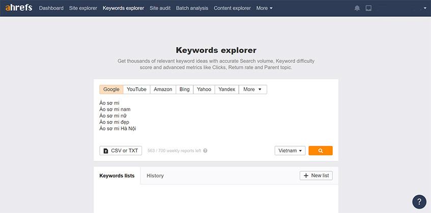 Nghiên cứu từ khóa với Keyword Explorer của Ahrefs