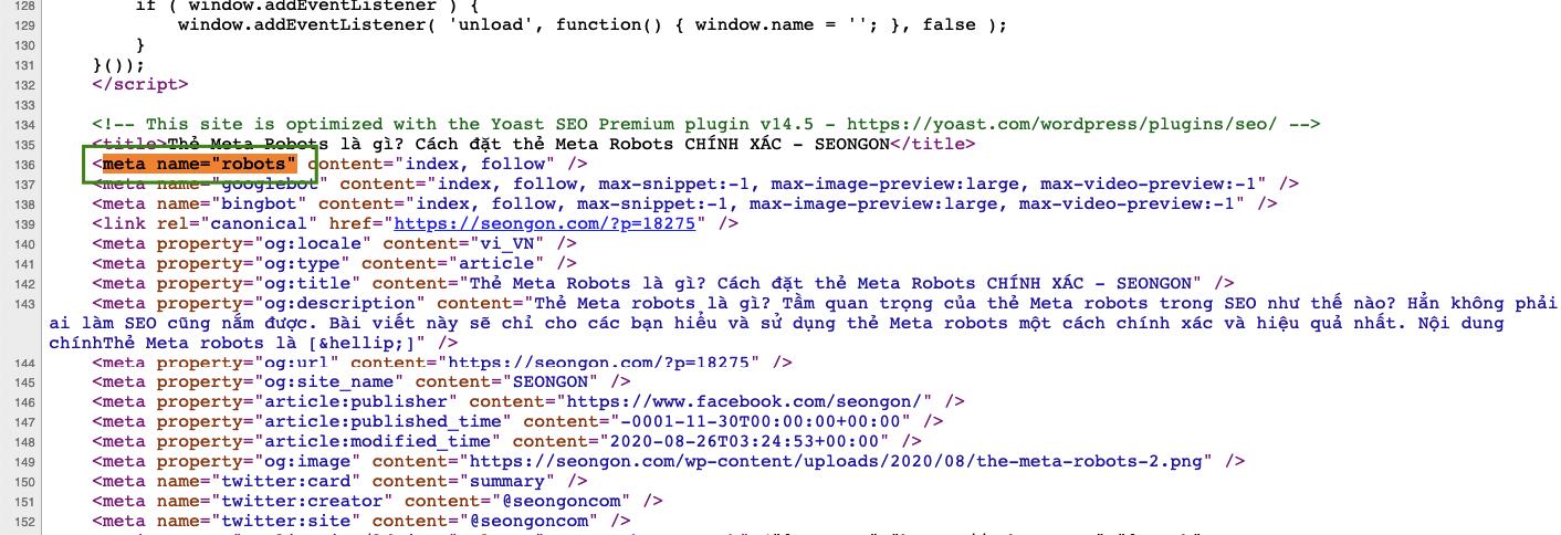 Kiểm tra thẻ meta robots bằng kiểm tra nguồn trang