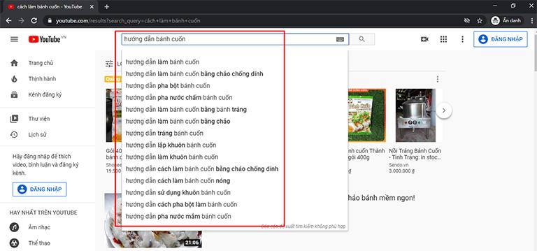Tìm từ khóa bằng YouTube Suggest