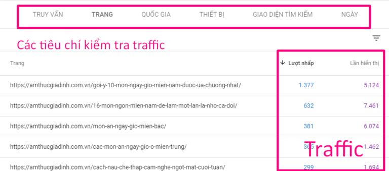 Traffic thống kê từ mỗi trang cụ thể