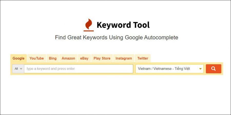 Giao diện công cụ nghiên cứu từ khóa phủ định - Keywordtool.io