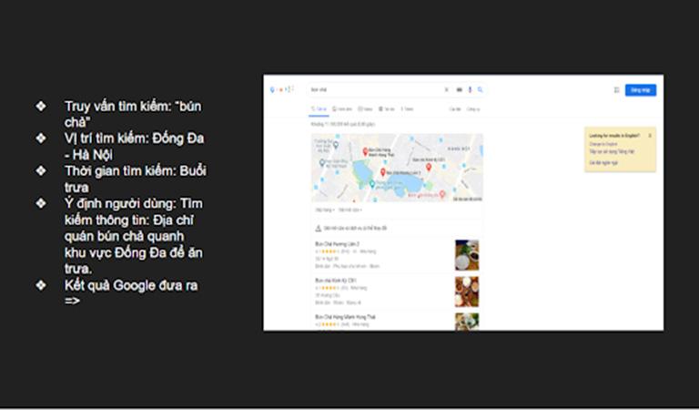 """Kết quả Google trả về khi bạn ở tại vị trí Đống Đa và search từ khóa """"bún chả"""""""