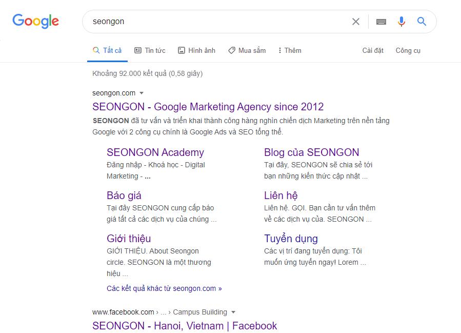 Kết quả trên trang tìm kiếm SEO