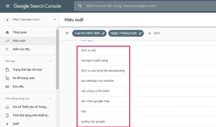 Tìm hiểu truy vấn thực tế với Google Search Console