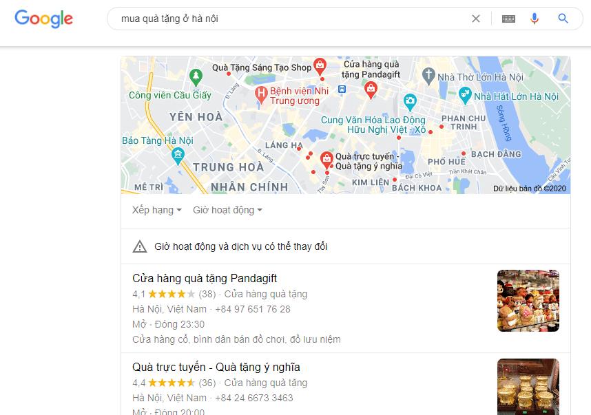 SEO cho sản phẩm quà tặng cần chú ý đến Google Map