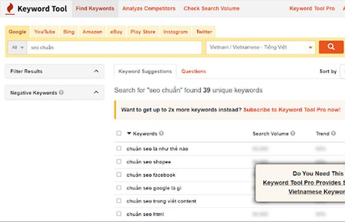 Cách dùng KeywordTool.io