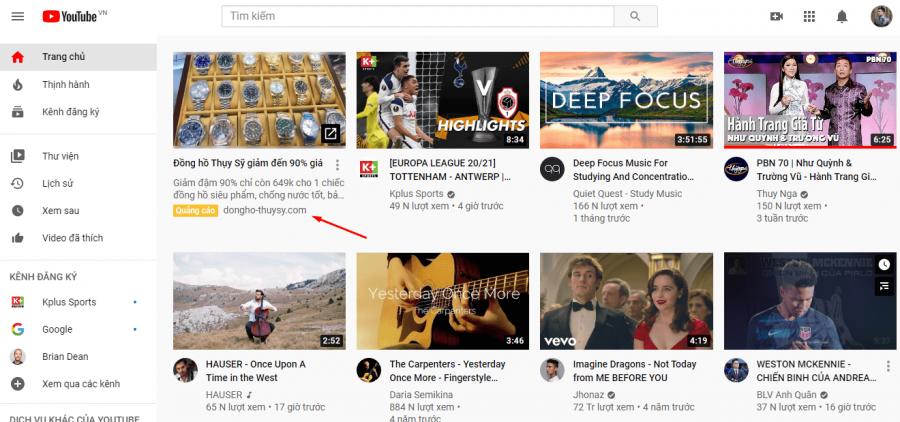 Quảng cáo Youtube xuất hiện trên trang chủ