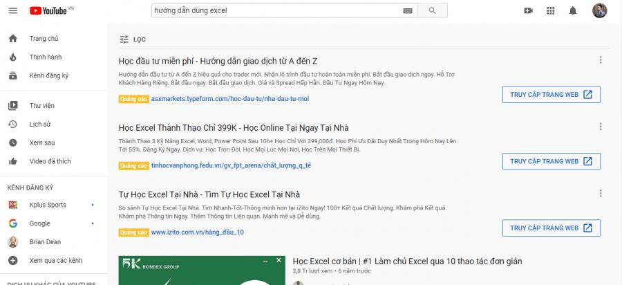 Quảng cáo Youtube xuất hiện trên trang tìm kiếm