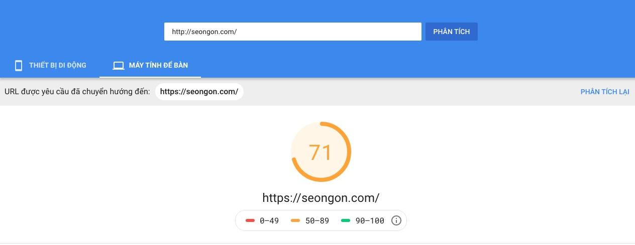 Công cụ tối ưu Onpage Google Page Speed Insight