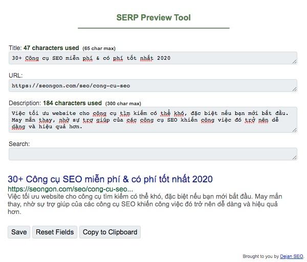 Công cụ tối ưu hoá nội dung Google SERP preview tools