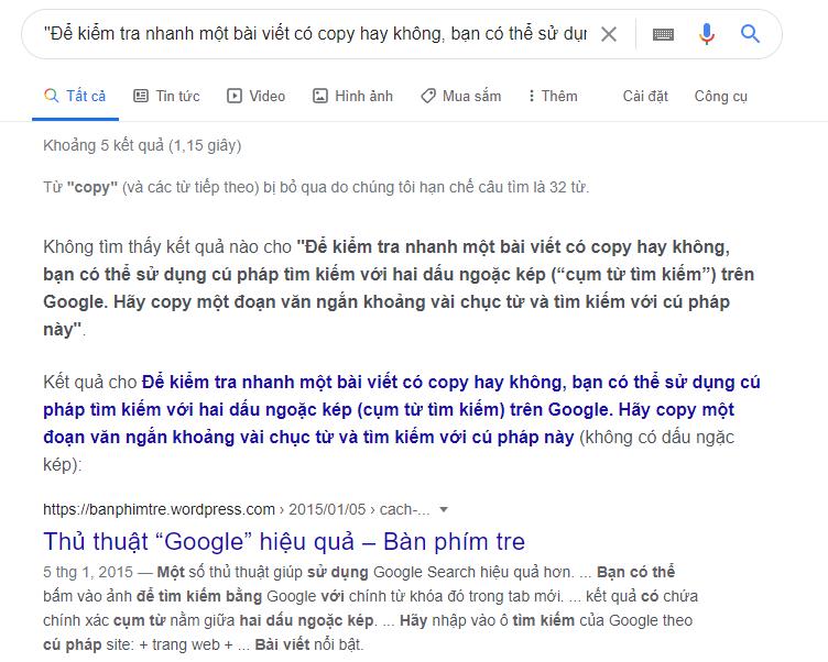 Kiểm tra nội dung trùng lặp trên Google