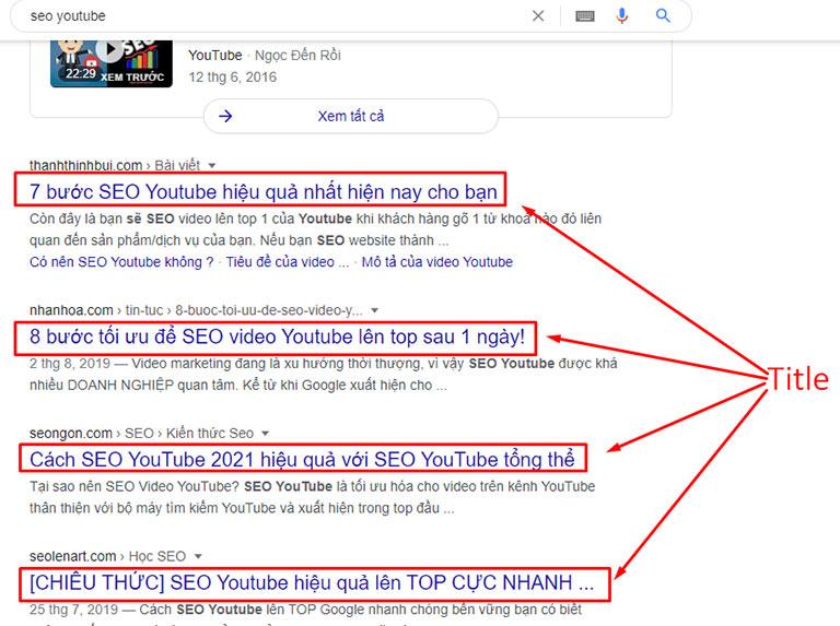 Tiêu đề bài viết trên Google