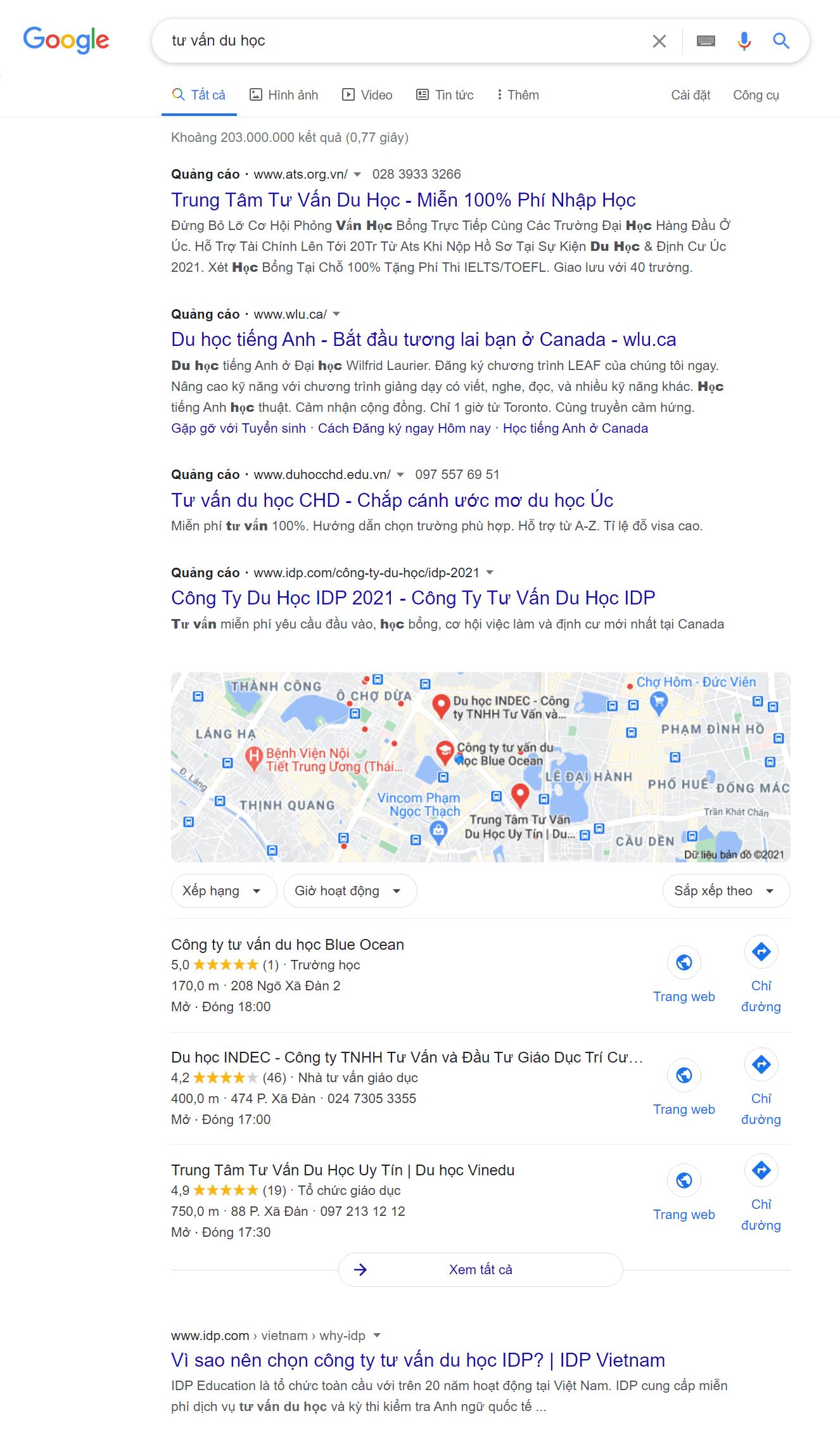 Blue Ocean xếp hạng trên trang đầu tiên của Google