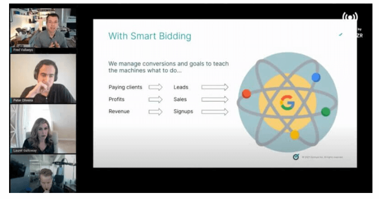 cuộc họp về PPC thảo luận về các chiến thuật Đặt Smart Bidding