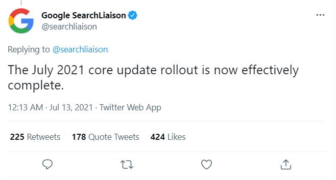 Update Google tháng 7.2021