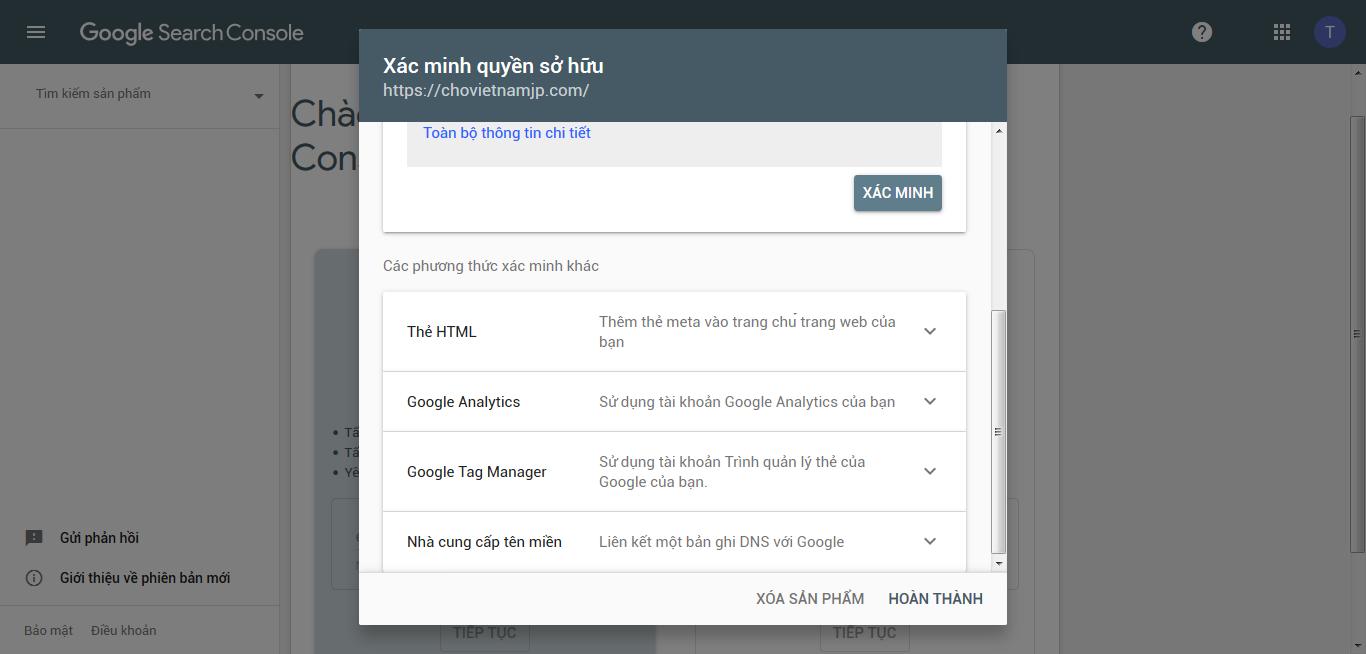 hướng dẫn cài google search console bằng thẻ html