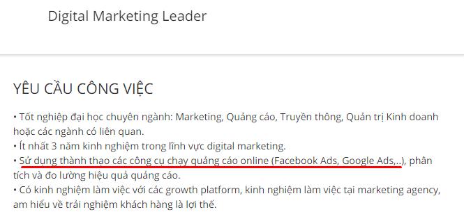 tuyền dụng Digital Marketing yêu cầu kinh nghiệm Google Ads